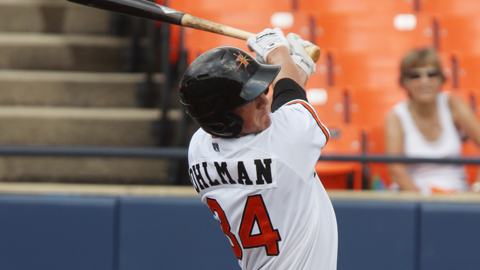 Michael Ohlman hit his 12th homer of the season in Monday's win at Winston-Salem.