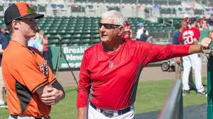 Mike Yastrzemski and his grandfather, Red Sox great, Carl Yastrzemski before an Orioles v Red Sox spring training game.